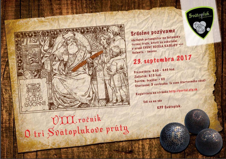 Pozvánka na petangový turnaj: O tri Svätoplukove prúty dňa 23. septembra 2017