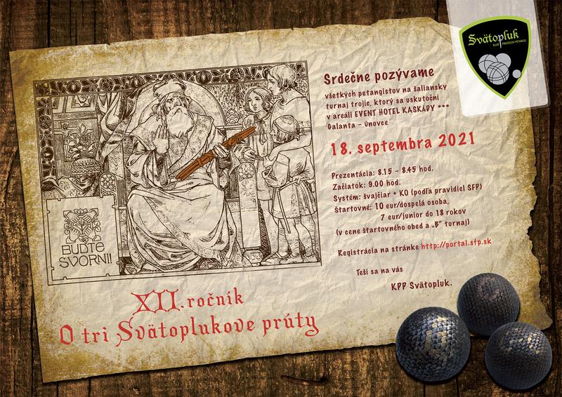 Pozvánka na petangový turnaj o 3 Svätoplukove prúty 2021